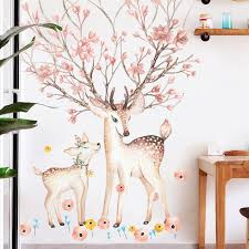 Mother Child Sika Deer Flowers Wall Sticker For Living Room Art Vinyl Wall Decals For Kids Baby Home Decor Adesivo De Parede Aliexpress