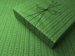 lines on green gothic wrapping paper