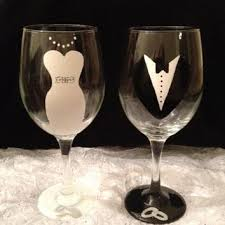 hand painted bride wine glass on