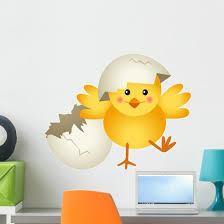 Chick Leaving Cracked Egg Wall Decal Wallmonkeys Com