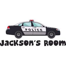 Police Car Policeman Customized Wall Decal Custom Vinyl Wall Art Personalized Name Baby Girls Boys Kids