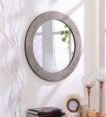 solid wood round wall mirror in