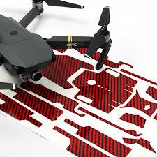 Wrap Skin Decal Stickers Carbon Fibre Red Dji Mavic Pro Drone Accessories Australia