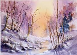Pamela West - Stream in Winter - watercolour - Artists & Illustrators -  Original art for sale direct from the artist