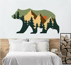 Bear Wall Decal Animal Woodland Vinyl Sticker Mural Pine Tree Bedroom Decor Nt56 Ebay