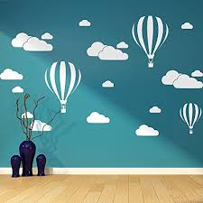 Livegallery Giant Removable Vinyl 3d Hot Air Balloons With Clouds Wall Decals Diy Wall Stickers Nursery Decor Kids Bedroom Art Decoration Girls Rooms Decal Child Sticker Home Walls Decal White Baby