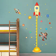 Spaceship Universe Wall Stickers Height Chart Measuring Wall Decal Kids Home Room Nursery Diy Adhesive Art