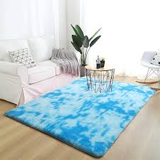 Amazon Com Vasofe Abstract Large Shaggy Area Rug Modern Indoor Fluffy Rugs Ultra Soft Baby Nursery Rugs For Bedroom Living Room Home Non Slip Boys Kids Girls Floor Carpet 5x8 Feet Blue Kitchen