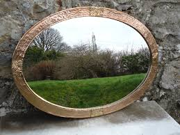 large arts crafts oval copper mirror
