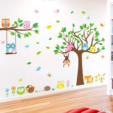 Amazon Com Decalmile Owl And Tree Large Wall Decals Forest Animals Birds Monkey Wall Stickers Baby Nursery Kids Bedroom Playroom Wall Decor Tree Size 41 H Kitchen Dining