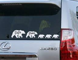 Amazon Com Celycasy Papa Bear Mama Bear And Bear Cubs Bear Family Vinyl Car Decal Home Kitchen