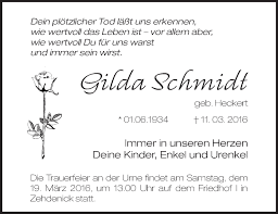 Traueranzeigen von Gilda Schmidt   Märkische Onlinezeitung Trauerportal