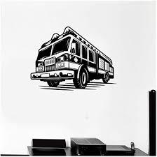 Amazon Com Xjpgkd Vinyl Decal Firefighter Fire Truck Children S Room Art Decor Home Decor Removable Vinyl Nursery Kids Room Wall Sticker 58 X 44 Cm Kitchen Dining