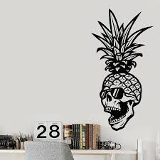 Pineapple Skull Wall Sticker Glasses Skeleton Tropical Style Vinyl Wall Decal Home Decor Living Room Teen Room Wallpaper Z848 Wall Stickers Aliexpress