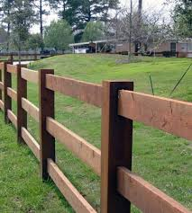 Wooden Ranch Rails Are Used In Rural And Residential Areas To Define Property Lines Or For Sight Pleasing Landsc Backyard Fences Rustic Fence Wood Fence Design