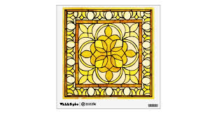 Yellow Stained Glass Wall Decal Zazzle Com