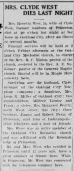 princeton Daily Clarion Oct 18 1934 obit Rosetta West - Newspapers.com
