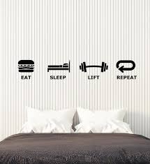 Vinyl Wall Decal Teen Room Decor Game Zone Eat Sleep Lift Repeat Stick Wallstickers4you