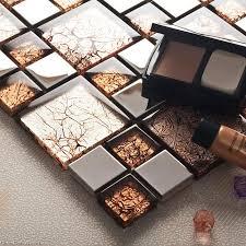pattern nailed brown mirror mosaic tile