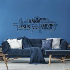 Amor Jesus Servir Wall Sticker House Rules Vinyl Wall Art Decal Living Room Home Decor Poster Portuguese Room Decor Wallpaper Wall Stickers Aliexpress