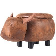 Clearance Storage Ottoman Kids Upholstered Footrest Stool With Vivid Adorable Animal Shape Soft Ride On Seat For Living Room Bedroom Dorm Apartment I8551 Walmart Com Walmart Com