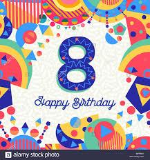 Feliz Cumpleanos 8 Ano Diseno Divertido Con Numero Texto De