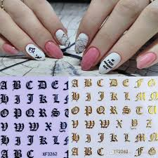 New 3d Gold Black White Nail Sticker Self Adhesive Diy Charm Lable Letter Sticker For Nails Decals Manicure Nail Art Decal Nail Decorations Nail Magazine From Makeupmc 0 16 Dhgate Com