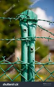 Green Steel Barbed Wire Fence Posts Objects Stock Image 227882485