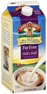land o lakes fat free half half 0 5