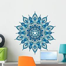 Amazon Com Decorative Blue Mandala Wall Decal Wallmonkeys Peel And Stick Graphic 24 In H X 23 In W Wm376331 Kitchen Dining