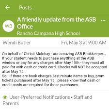 Re-post from Mrs. Butler's message: ASB... - Rancho Campana High School  PTSA | Facebook