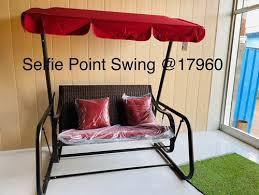 red indoor sofa swing seating capacity