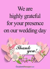 thank you messages for attending our wedding