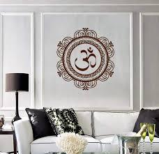 Amazon Com Wall Vinyl Decal Mandala Om Symbol Of Universe Cosmos Yoga Religious Spiritual Modern Home Decor And Stick Wall Decals Home Kitchen