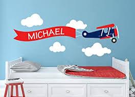 Amazon Com Airplane Name Wall Decal Custom Airplane Wall Decal Boys Kids Room Decor Nursery Airplane Clouds Decor Art Mural Vinyl Sticker 50 W X 20 H Baby