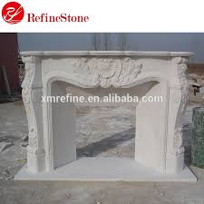 natural white marble fireplace surround