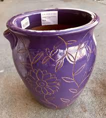 secret garden pot in purple pottery
