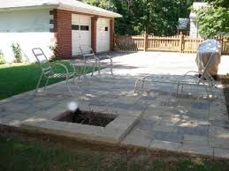 square fire pit in oaks paver patio