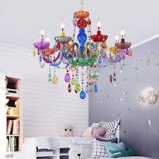 Kids Room Colorful Chandelier K9 Crystal Pendant Decor E12 Multicolored Shade Ceiling Light Bedroom Living Room Lighting Pendant Light 8 Lights 75x59cm Amazon Com