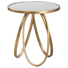 round looped gold mirrored accent table