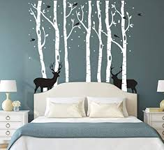 N Sunforest 7 8ft White Birch Tree Vinyl Wall Decals Nursery Forest Family Tree
