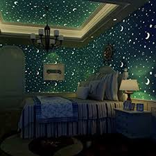 Amazon Com Luminous Wallpaper Glow Effect Night Sky Star Moon Snow Stick And Peel Self Adhesive Waterproof For Kids Room Ceiling Children Bedroom Papel Pintado Decor Decorative Stickers Blue Star Home Improvement