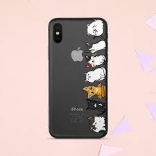 Kawaii Kitten Iphone Skin Cute Transparent Phone Sticker Cats Etsy