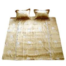 edinborough gold ivory faux silk quilt