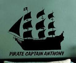 Black Pearl Pirate Ship Personalized Vinyl Wall Art Decal Decor Kids Bed Room Ebay