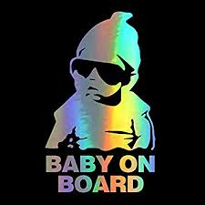 Amazon Com Hungmieh Baby On Board Car Sticker Decals For Car Window Windshield Body Laser Material Vinyl Kids Safety Caution Decal Sign With Carlos Stickers From The Hangover Decal 5 9 X3 6 Automotive