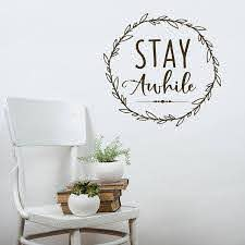 Stay Awhile Wall Decal Guest Room Decor Wreath Decal Guest Room Decor Room Decor Wall Decals