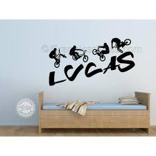 Personalised Bmx Bike Wall Stickers Boy Girls Bedroom Playroom Wall Art Sticker Decor Decals