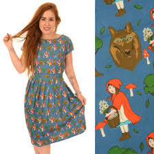 run and fly red riding hood print dress