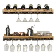 solid wood wall mounted wine